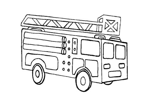 Kids Drawing Of Fire Truck Coloring Page : Coloring Sky