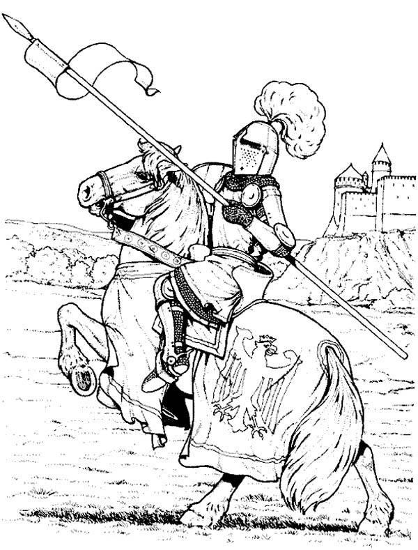 Knight, : Knight Bring Kingdom Flag Coloring Page