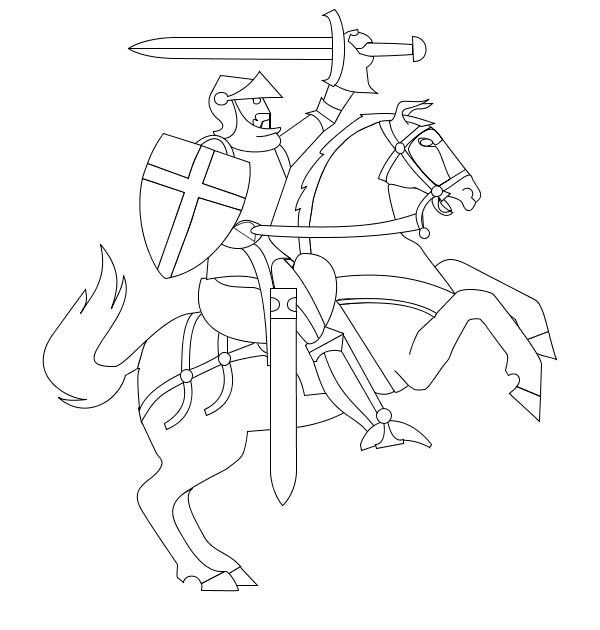 Knight, : Knight Commander Coloring Page