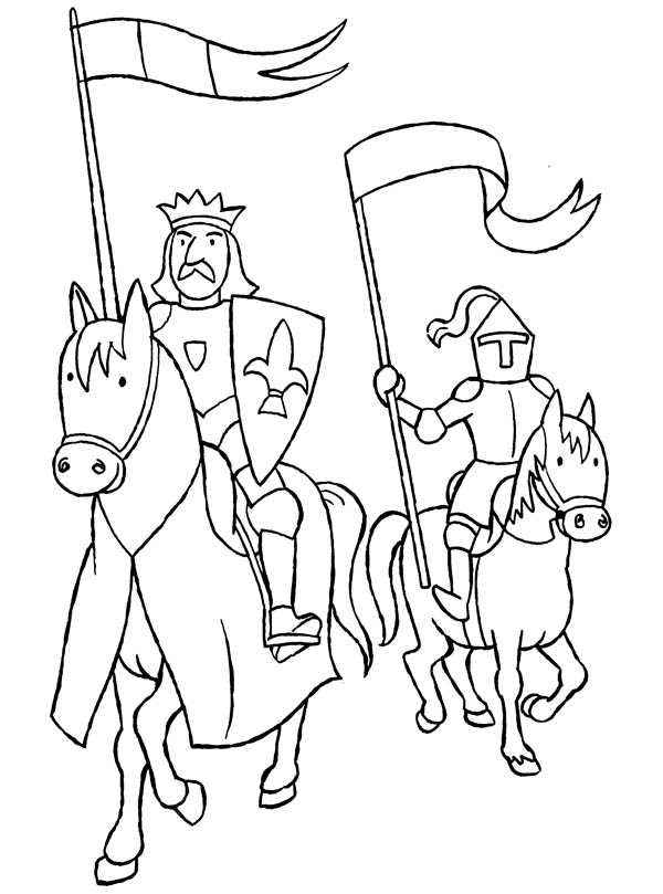 fiver knights coloring pages | Knight Guaring A King Coloring Page : Coloring Sky
