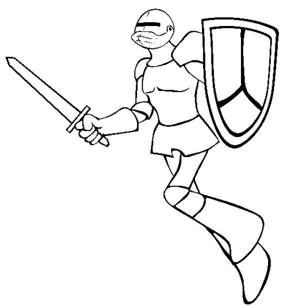 Knight, : Knight Jump to Attack Coloring Page