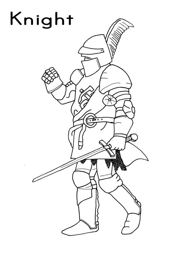 Knight, : Knight Marching Coloring Page