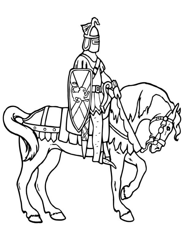 Knight Patroling on Horse Coloring Page | Coloring Sky