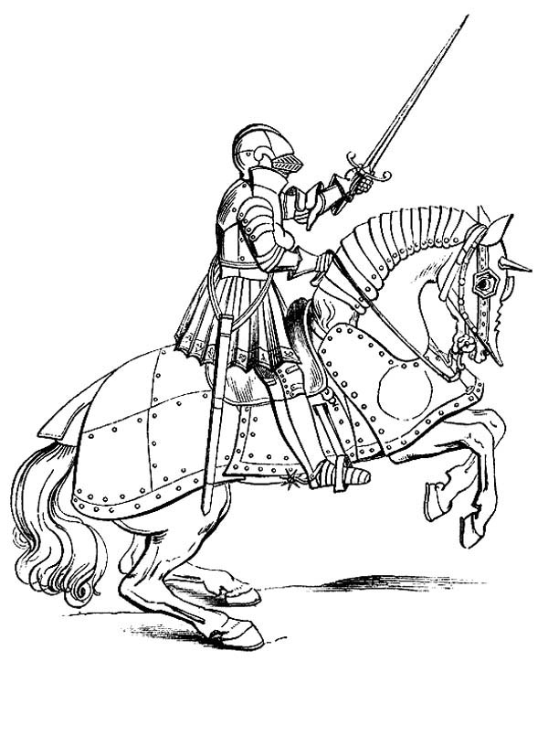 Knight RIde Steel Horse Coloring Page | Coloring Sky