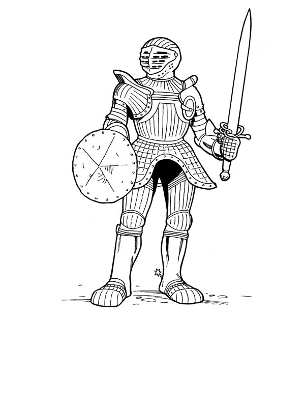Knight, : Knight Ready to Fight Coloring Page