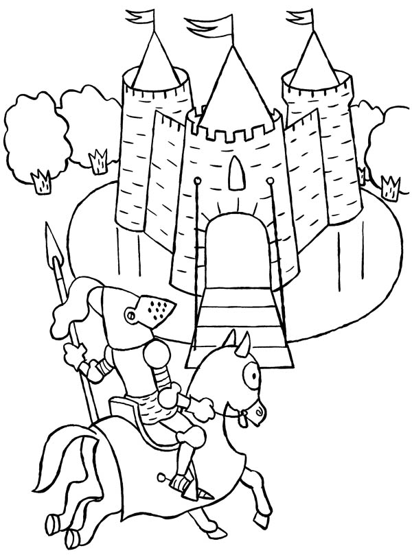 Knight, : Knight Ride a Horse to Castle Coloring Page