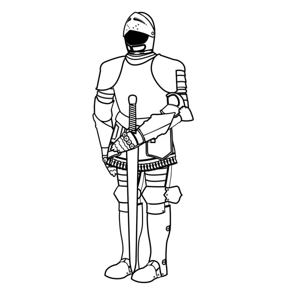 Knight, : Knight Steel Armour Coloring Page