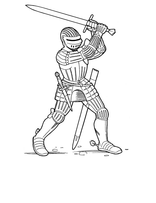 Knight Swing His Big Sword Coloring Page Coloring Sky