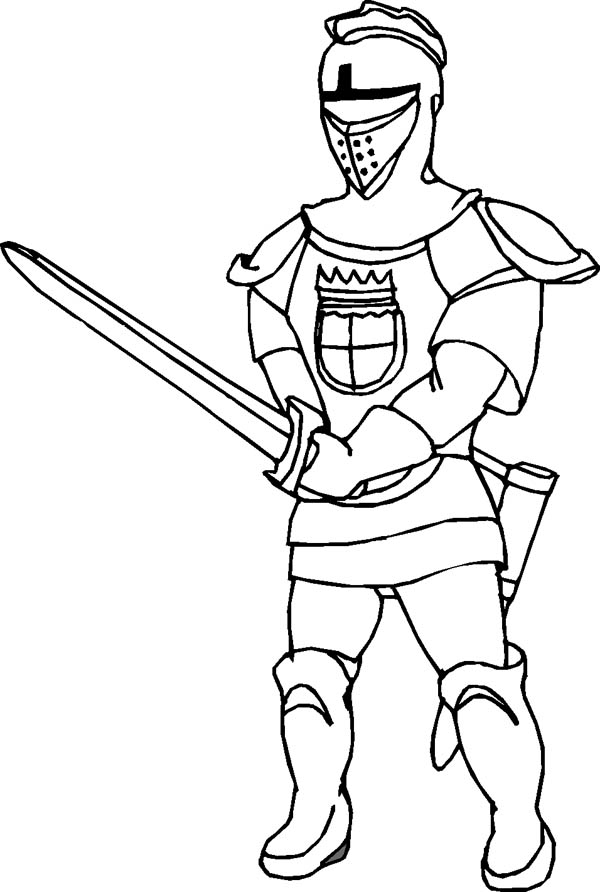 Knight, : Knight Sword Fighting Coloring Page