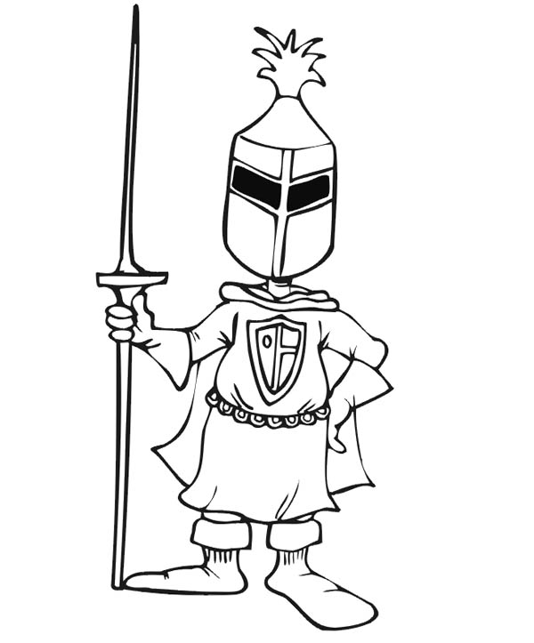 Knight, : Knight Wear Mask and Jousting Stick Coloring Page