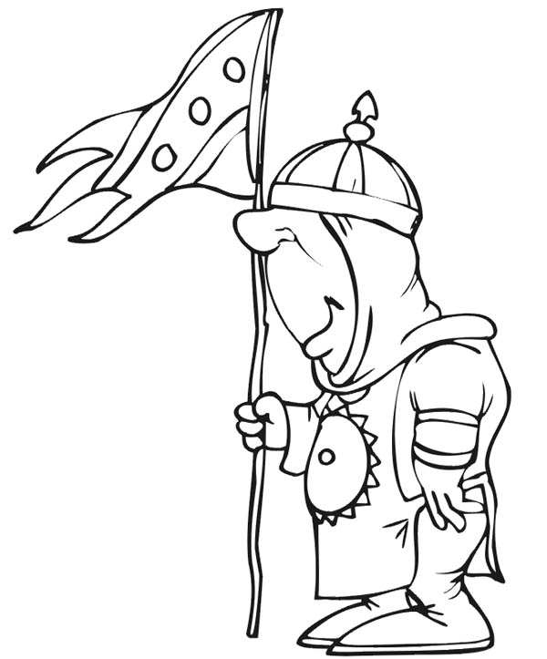 Knight, : Knight with Kingdom Flag Coloring Page
