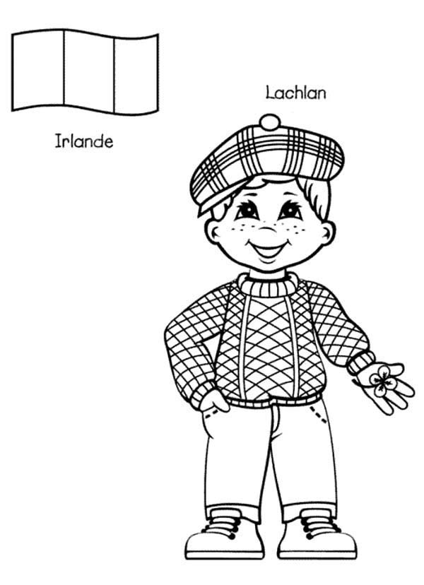 Around the World, : Lachlan Irish Kid from Around the World Coloring Page