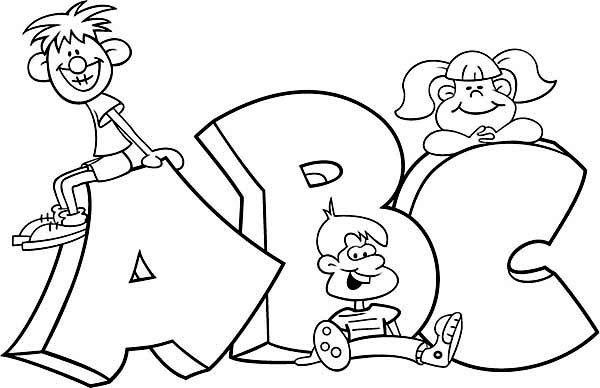 Learning ABC With Cartoon Characters Coloring Page