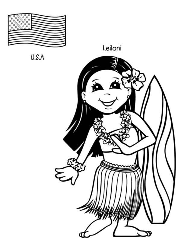 Leilani US Kid From Around The World Coloring Page