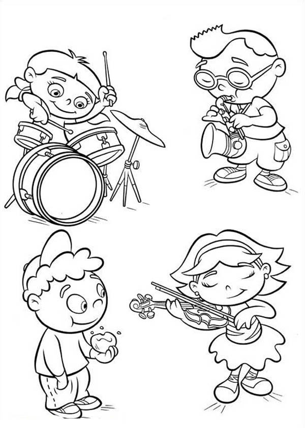 Little Einstein Can Play Various Instrument Coloring Page