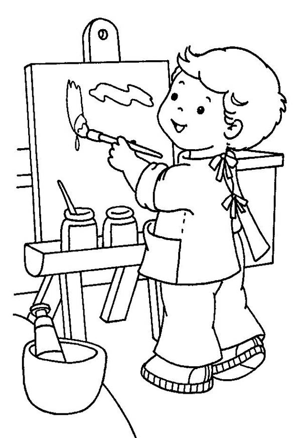 kids picture coloring pages   Little Painter In Kindergarten Coloring Page : Coloring Sky