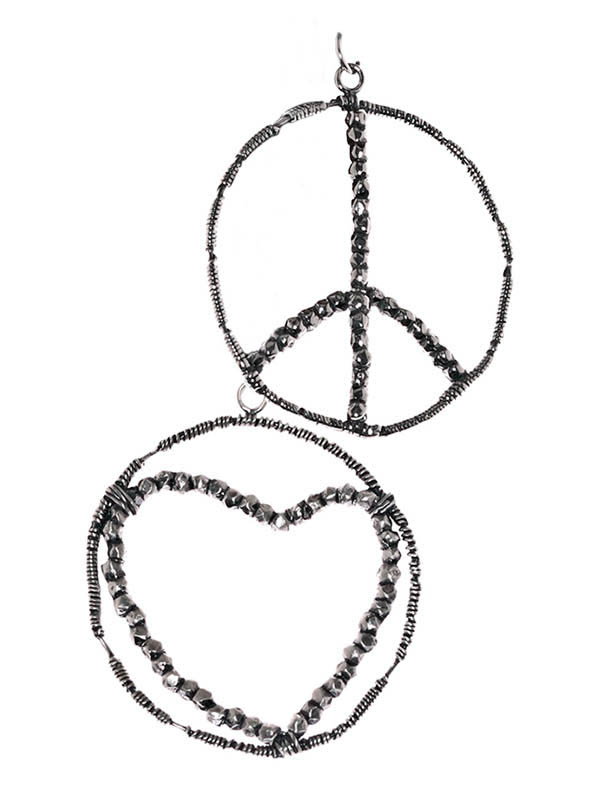 Jewelry, : Love and Peace Earrings Jewelry Coloring Page
