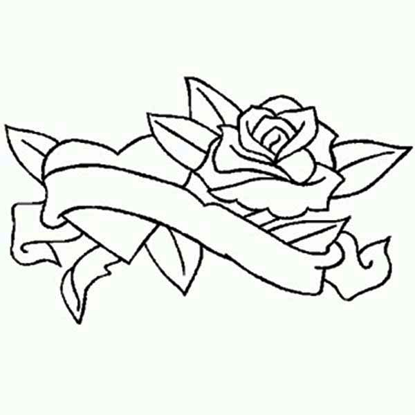 Love And Rose Winding With Ribbon Coloring Page : Coloring Sky