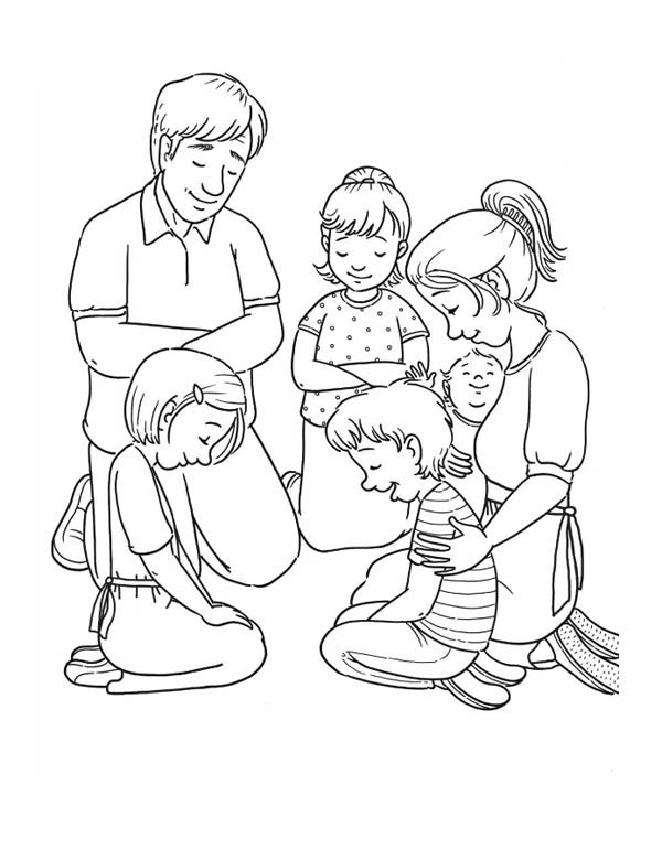 Member of Family Praying Together Coloring Page | Coloring Sky