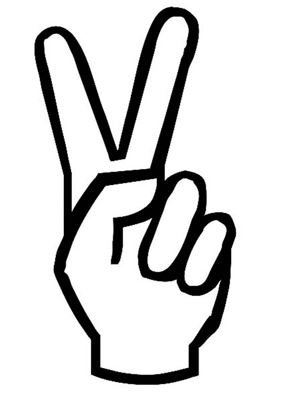 Hand, : Peace Hand Sign Coloring Page