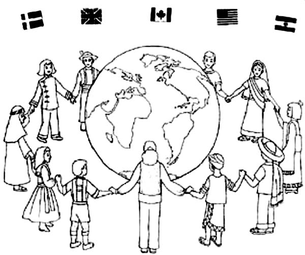 People Around The World Gather Together Coloring Page ...