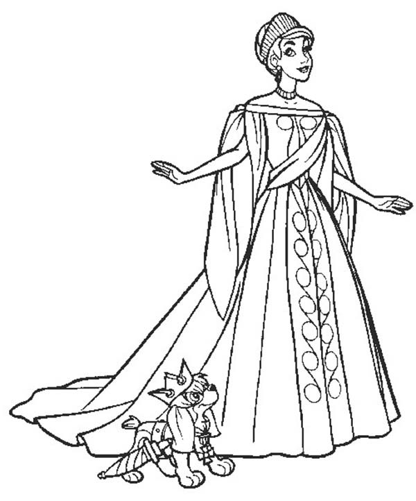Anastasia, : Picture of Anastasia and Her Dog Pooke Coloring Page