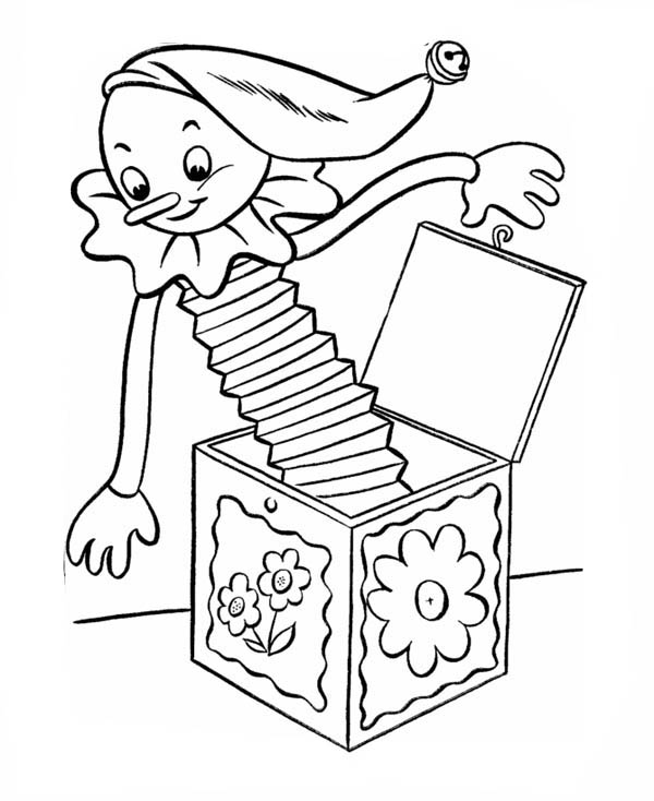 Jack in the Box, : Picture of Jack in the Box Coloring Page