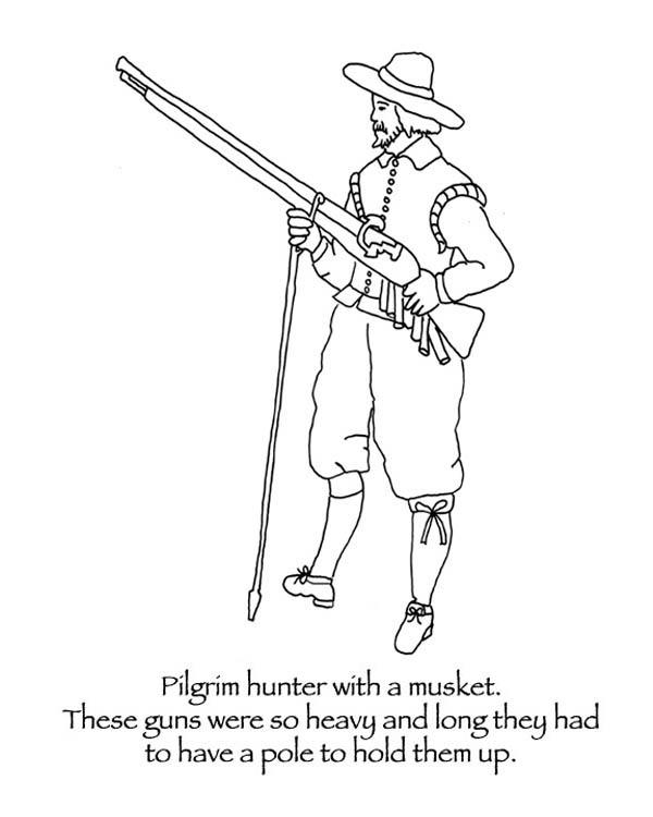 Crocodile hunter coloring pages ~ Pilgrim Hunter With A Musket Coloring Page: Pilgrim Hunter ...