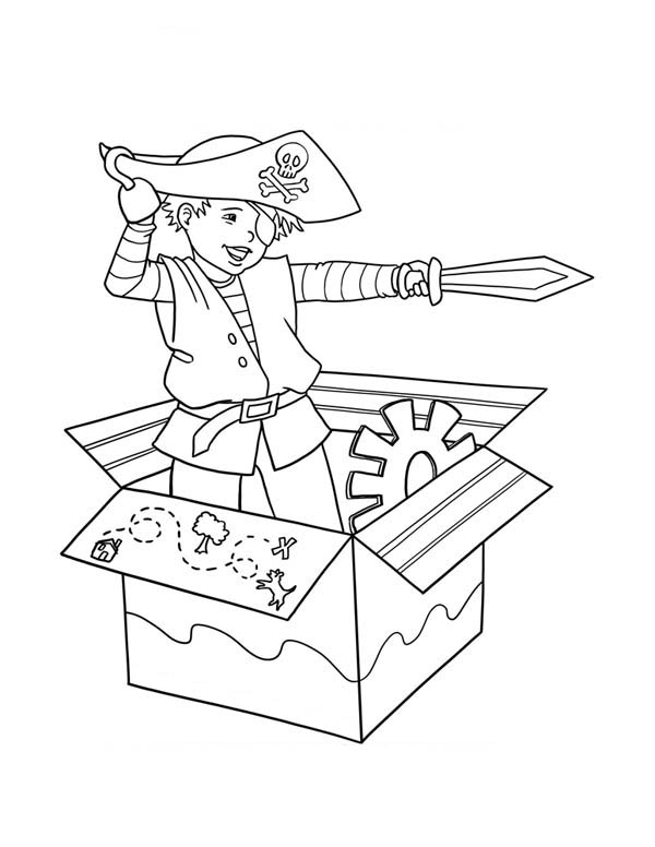 Jack in the Box, : Pirate Jack in the Box Draw His Sword Coloring Page