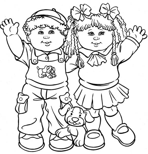 Playing With Our Pet On Friendship Day Coloring Page