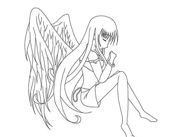 Anime, : Praying Angel Anime Coloring Page