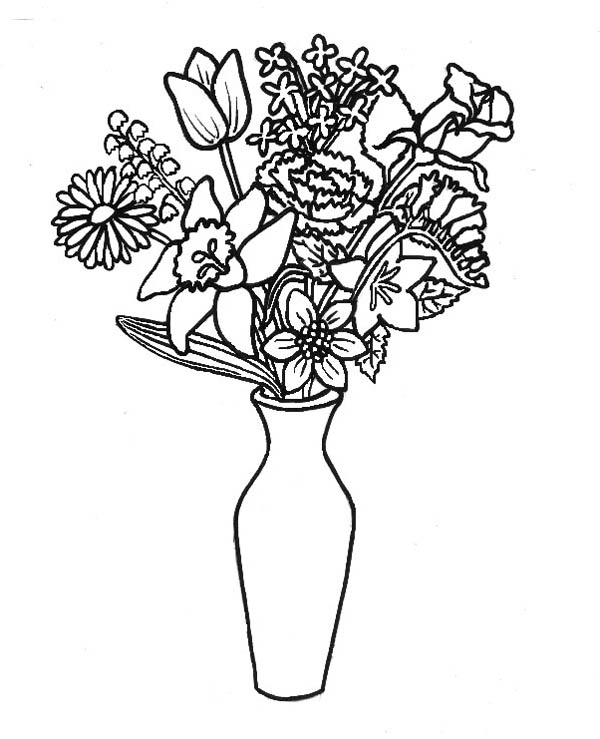 Remove Flower From Bouquet To Flower Vase Coloring Page Coloring Sky