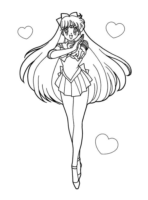 Anime, : Sailor Moon Anime Soldier of Love and Justice Coloring Page