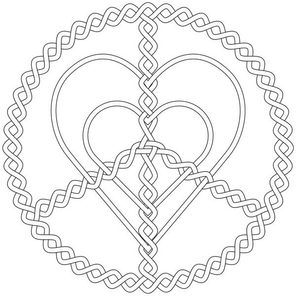 Jewelry, : Silver Love and Peace Jewelry Coloring Page