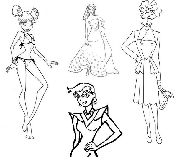 Sketch Of Fashion Model Coloring Page Coloring Sky