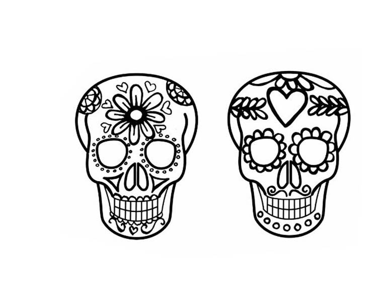 Jewelry, : Skull Design of Jewelry Coloring Page