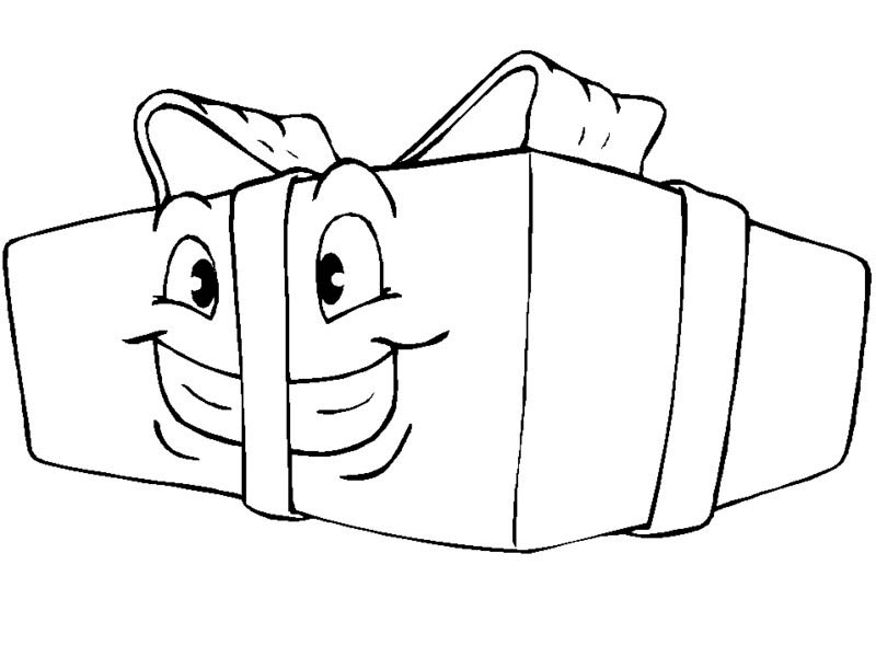 Gifts, : Smiling Christmas Gifts Coloring Page