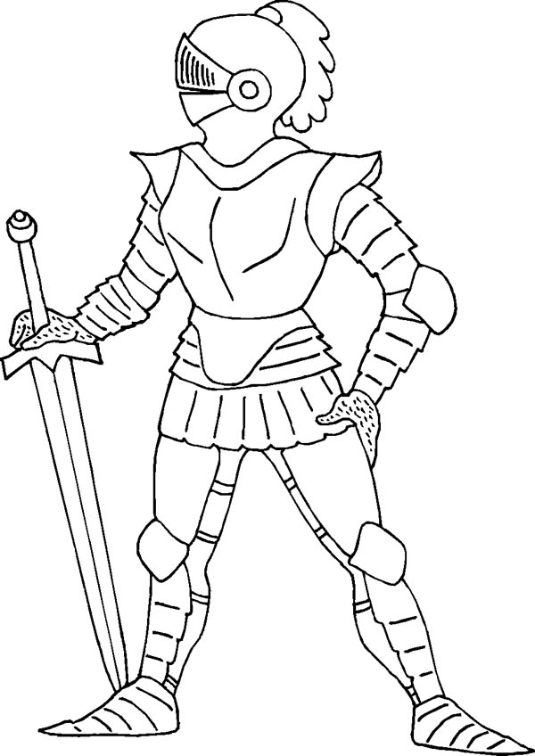 Knight, : Standing Still Knight Coloring Page