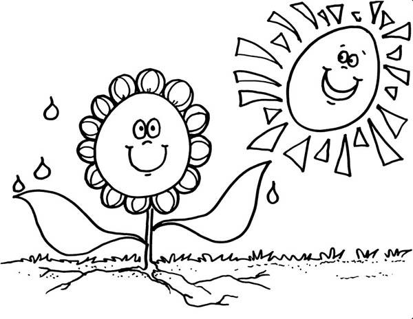 Sun Shining at Kindergarten School Coloring Page ...