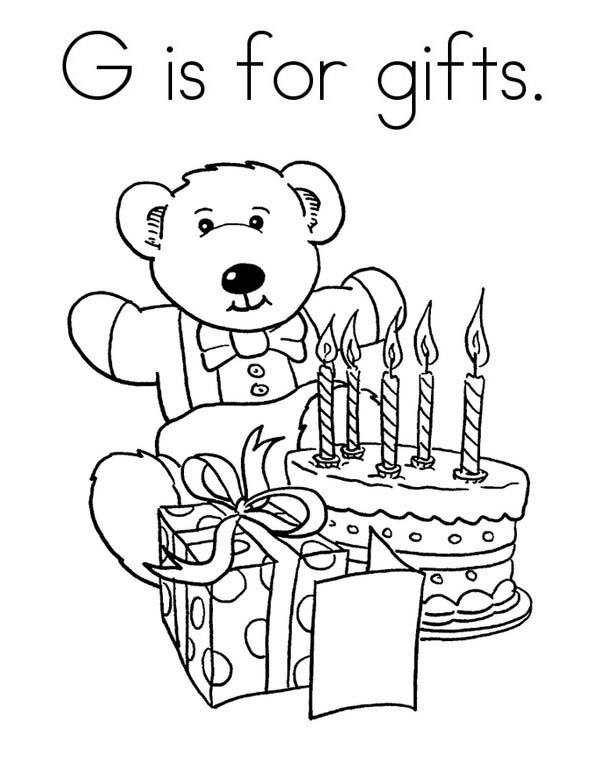 Teddy Bear and Birthday Gifts Coloring Page | Coloring Sky