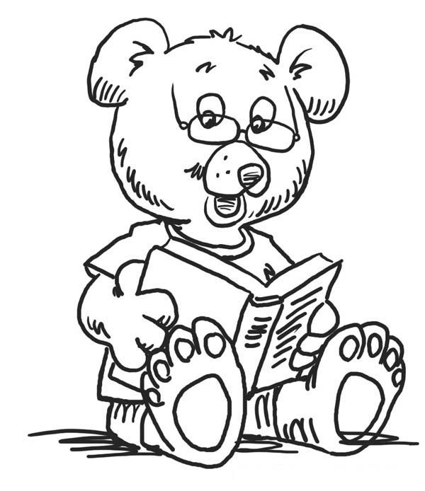 Teedy Bear Love Read Book At Kindergarten Coloring Page ...