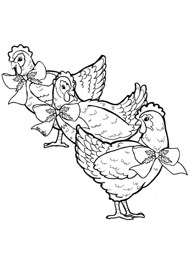 Three French Hen Coloring Page | Coloring Sky