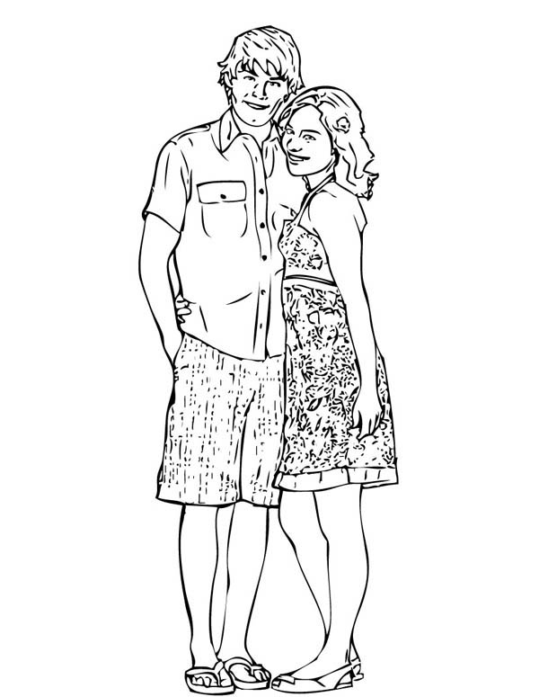 High School Musical, : Troy and Gabriella from in High School Musical Coloring Page