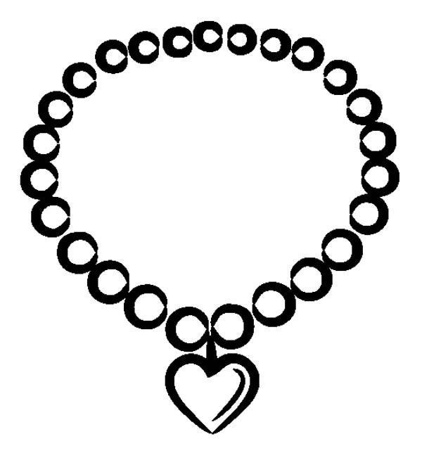 bracelet coloring pages | Valentine Heart Necklace Jewelry Coloring Page | Coloring Sky