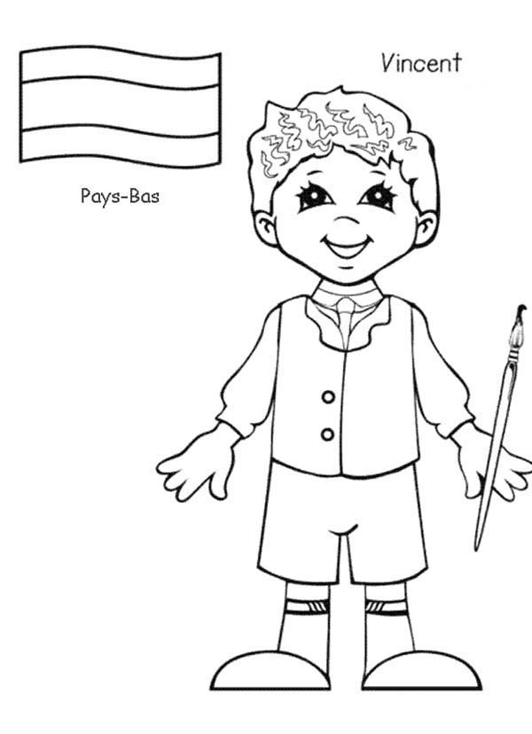 child around the world coloring pages | Vincent Pays Bas Kid From Around The World Coloring Page ...