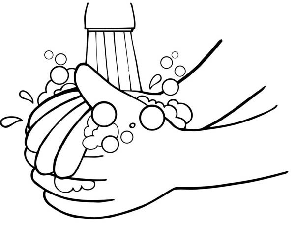 hand hygiene coloring pages | Washing Hand From Germs Coloring Page : Coloring Sky