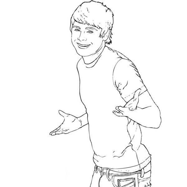 High School Musical, : Zac Efron as Troy Bolton in High School Musical Coloring Page