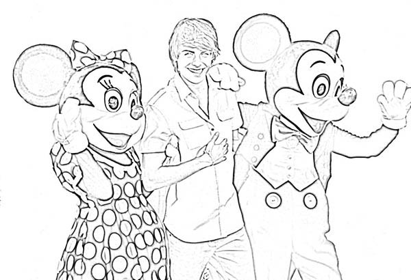 High School Musical, : Zac Efron from High School Musical Posing with Mickey and Minnie Mouse Coloring Page
