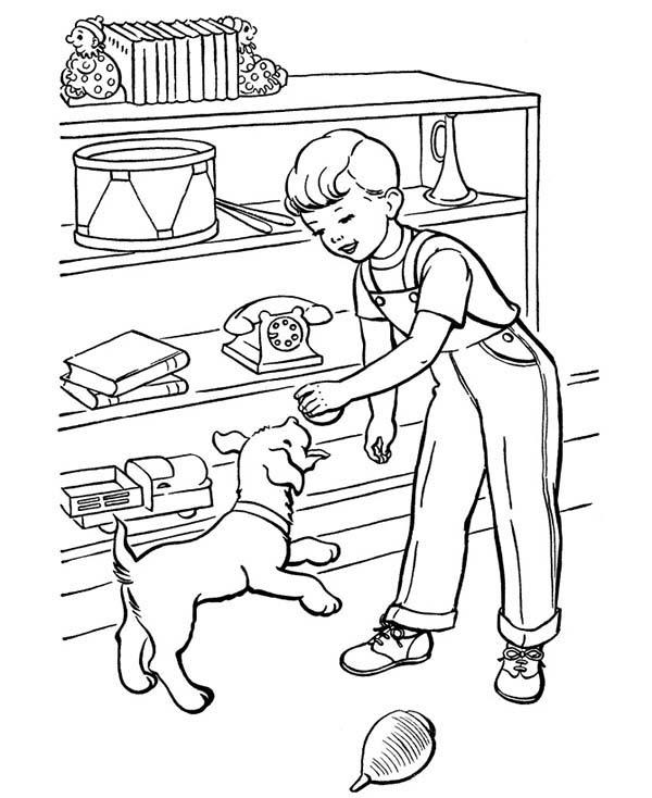 Pet, : A Boy Take His Pet Dog Play Coloring Page