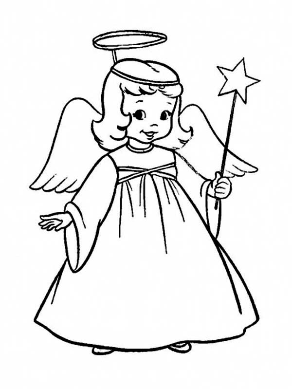 Christmas, : A Charming Tiny Girl in Angel Costume on Christmas Coloring Page